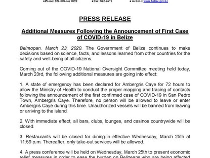 March 23, 2020 - Additional Measures Following the Announcement of First Case of COVID-19 in Belize