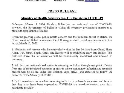 Ministry of Health Advisory No. 11 - Update on COVID-19