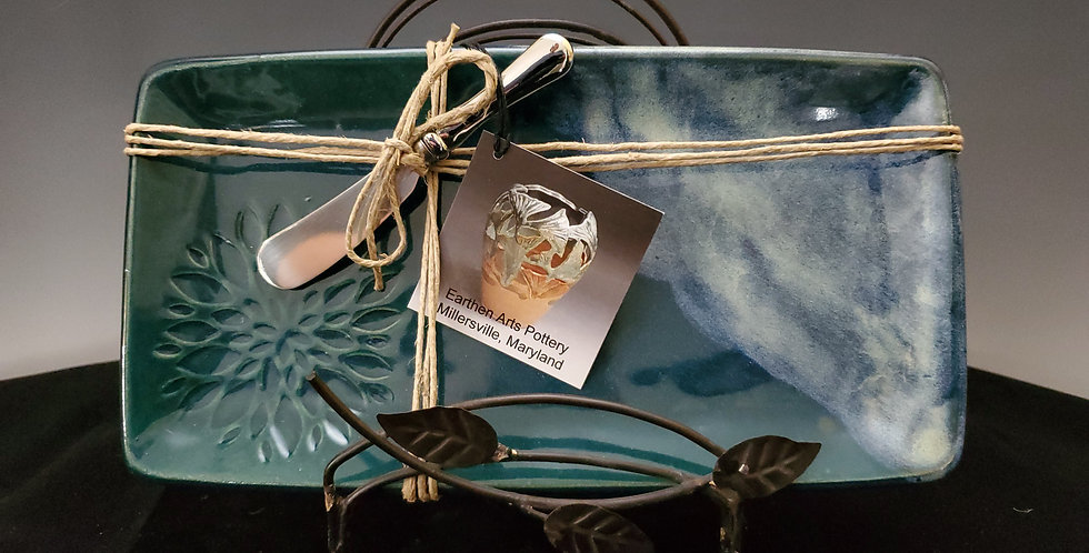 Small Appetizer Tray with Spreader-Blue Ridge