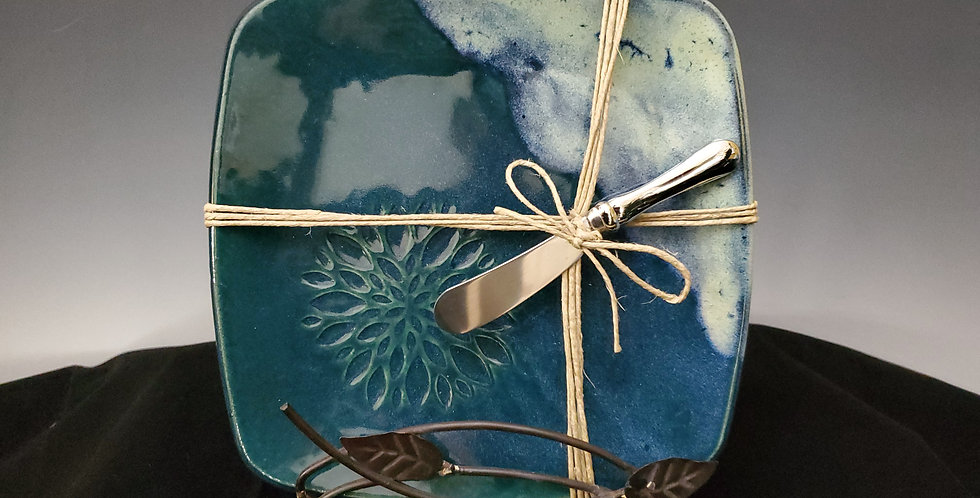 Small Appetizer Plate with Spreader-Teal