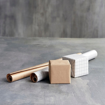 Gift Wrapping Paper, Kraft White/Brown, Set of 2