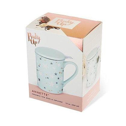 ANNETTE™ STARS MINT CERAMIC TEA MUG & INFUSER BY PINKY UP®