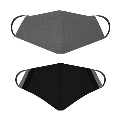 Face Mask, Charcoal Front, Black Back