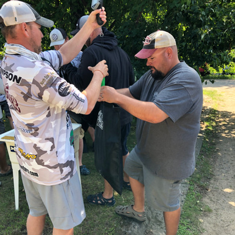 Mike and Brad at the weigh-in Whitefish Chain 2019