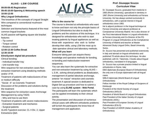 ALIAS Course - Prof. Scuzzo - ELINE System - Brochure 2