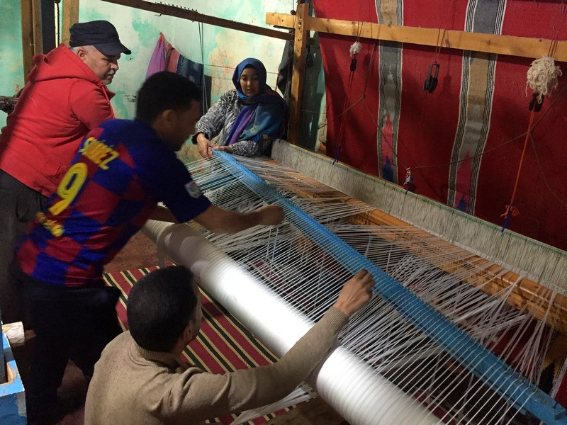 Morocco, Essaouira, weaving, loom