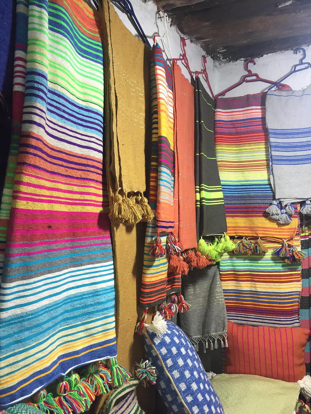 Morocco, Essaouira, weaving, loom, blanket, tapestry