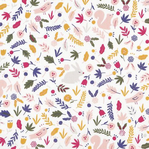 Ecureuil lapin et fleurs