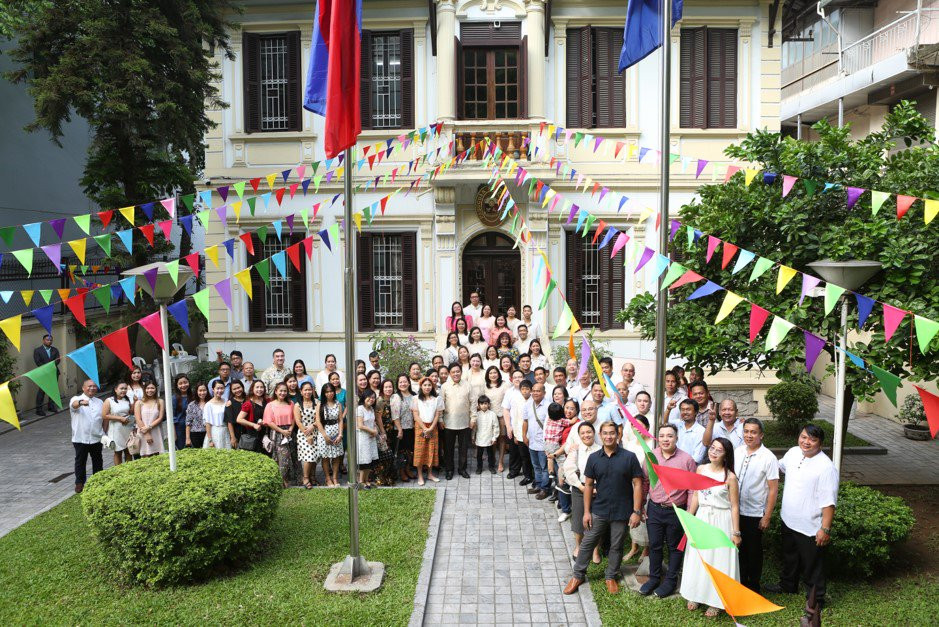 flag raising ceremony in the Embassy of the Philippines in Hanoi