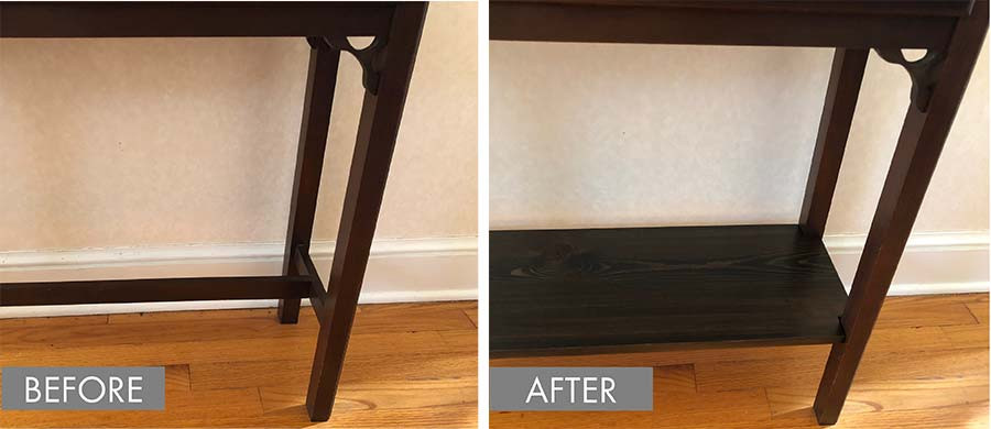 Console table with an added shelf to maximize space