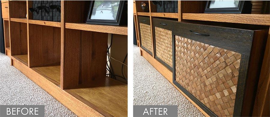 Custom-designed bins for a bookcase