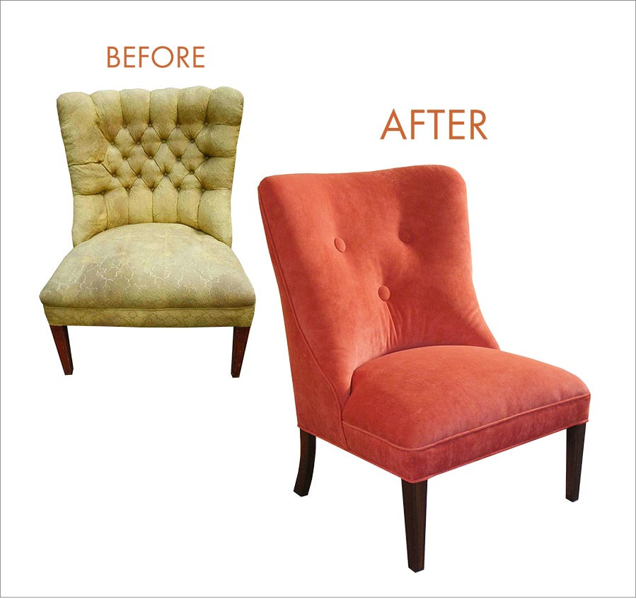Tufted chair before and after