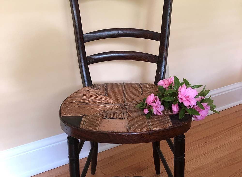 Old bistro chair with cane seat