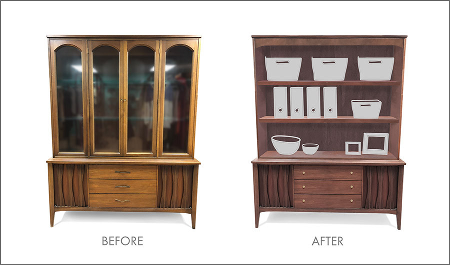 China cabinet transformed into a home office organizer
