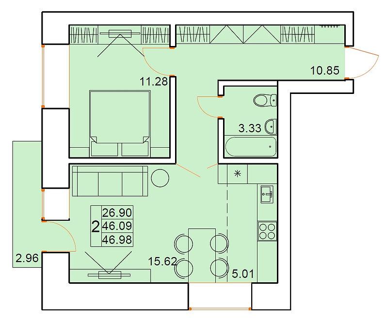 2-х комнатная квартира индивидуальной планировки 46,09 м.кв.