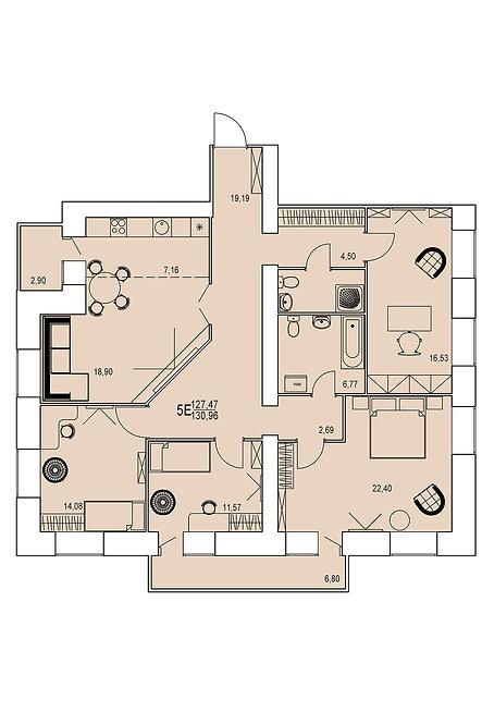 5-х комнатная квартира евро индивидуальной планировки 127,47 м.кв.