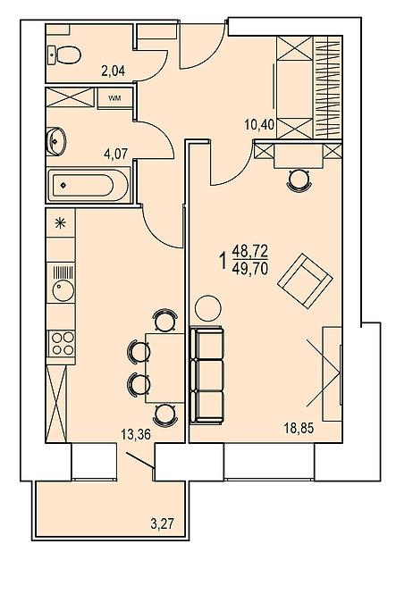 1 комнатная квартира индивидуальной планировки 48,72 м.кв.