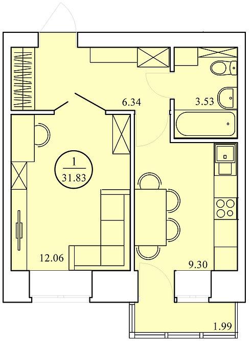 1 комнатная квартира индивидуальной планировки 31,83 м.кв.