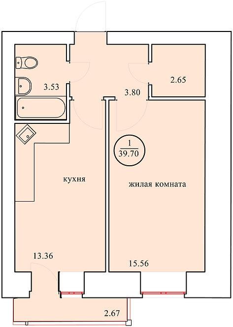 1 комнатная квартира индивидуальной планировки 39,70 м.кв.