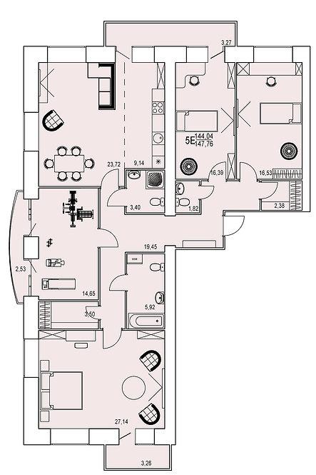 5-х комнатная квартира евро индивидуальной планировки 144,04 м.кв.