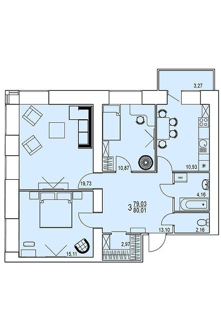3-х комнатная квартира индивидуальной планировки 79,03 м.кв.