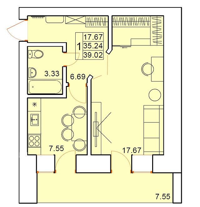 1 комнатная квартира индивидуальной планировки 35,24 м.кв.