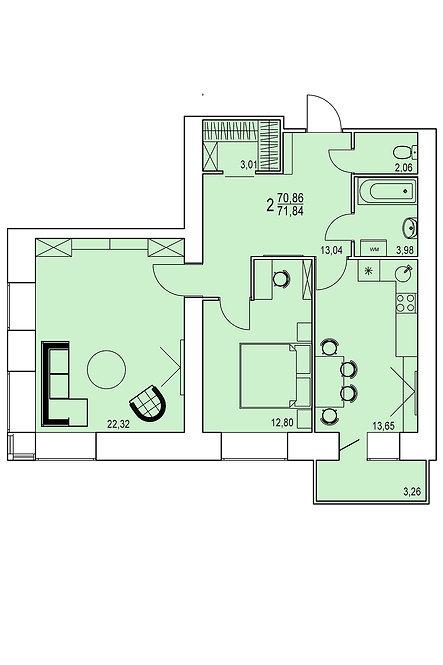 2 комнатная квартира индивидуальной планировки 70,86 м.кв.