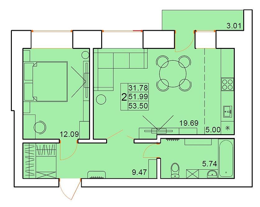 2-х комнатная квартира индивидуальной планировки 51,99 м.кв.