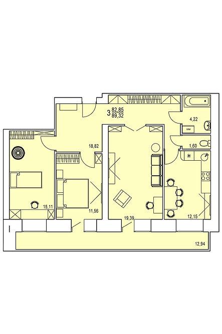 3-х комнатная квартира индивидуальной планировки 82,85 м.кв.