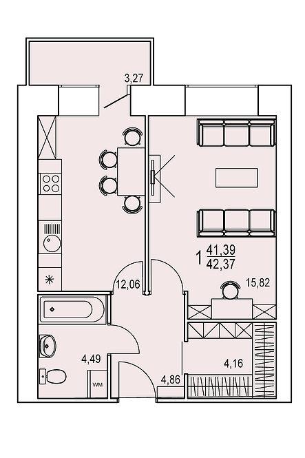 1 комнатная квартира индивидуальной планировки 41,39 м.кв.