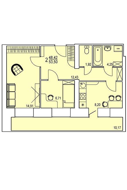 2-х комнатная квартира индивидуальной планировки 48,42 м.кв.