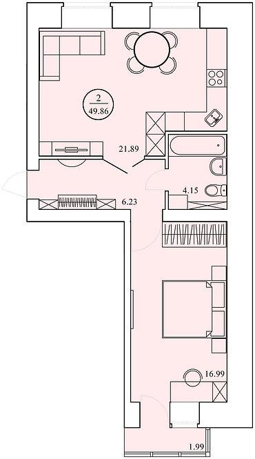 2 комнатная квартира индивидуальной планировки 49,86 м.кв.
