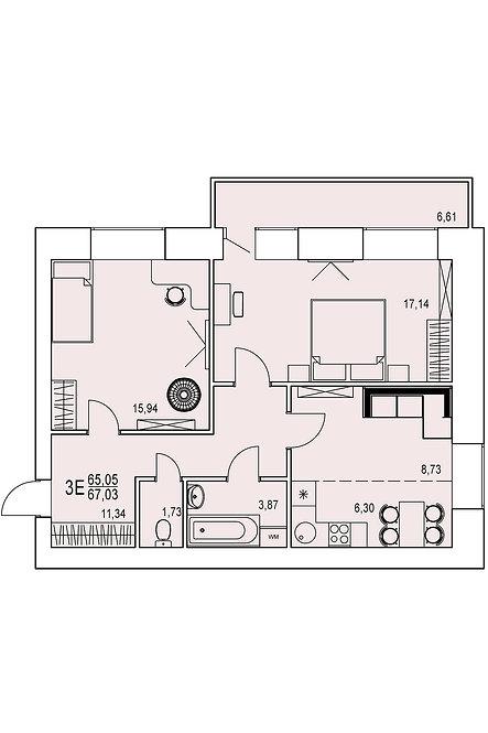 3-х комнатная квартира евро индивидуальной планировки 65,05 м.кв.