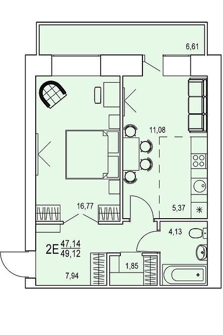 2-х комнатная квартира евро индивидуальной планировки 47,14 м.кв.