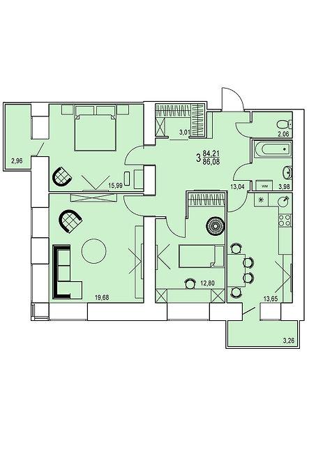 3-х комнатная квартира индивидуальной планировки 84,21 м.кв.