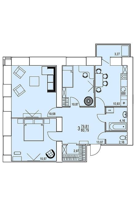 3-х комнатная квартира индивидуальной планировки 79,80 м.кв.