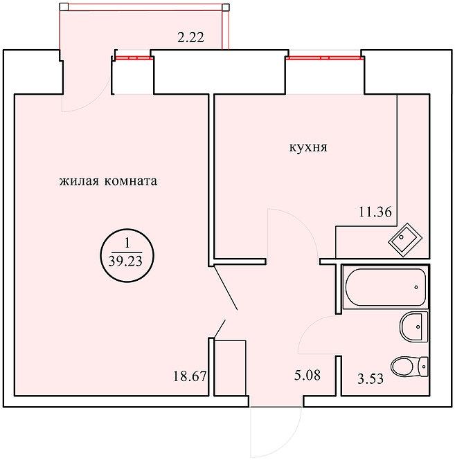 1 комнатная квартира индивидуальной планировки 39,23 м.кв.