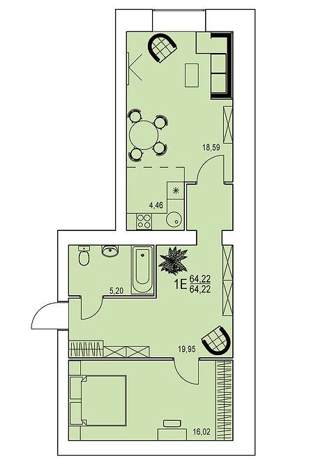 1 комнатная квартира евро индивидуальной планировки 64,22 м.кв.