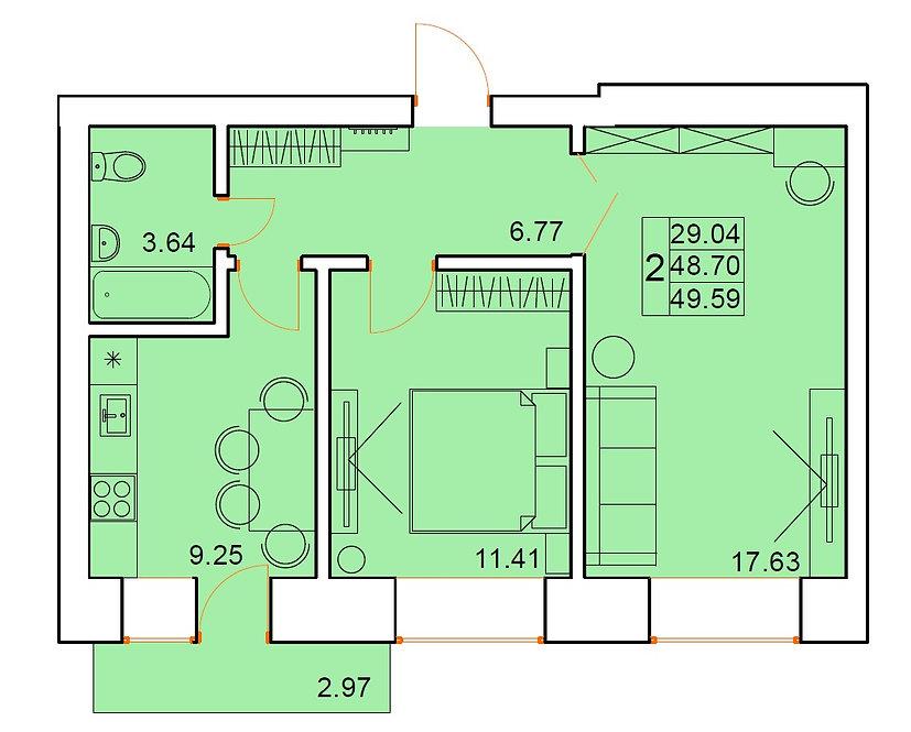 2-х комнатная квартира индивидуальной планировки 48,70 м.кв.