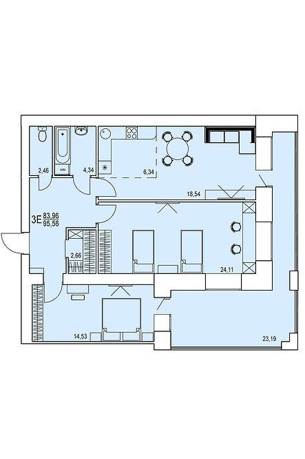 3-х комнатная квартира евро индивидуальной планировки 83,96 м.кв.