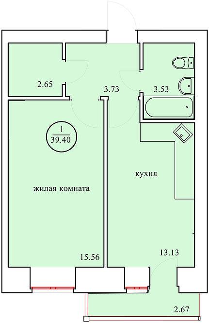 1 комнатная квартира индивидуальной планировки 39,4 м.кв.