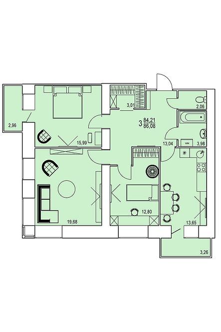 3-х комнатная квартира индивидуальной планировки 84,21 м.кв.»