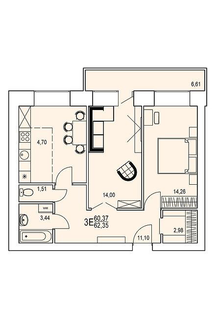 3-х комнатная квартира евро индивидуальной планировки 60,37 м.кв.
