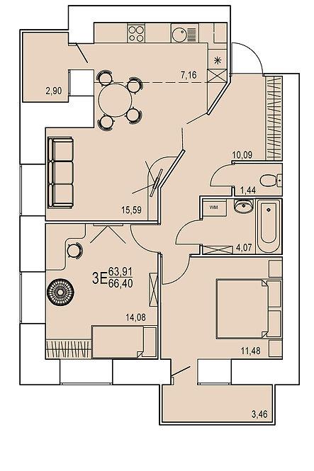 3-х комнатная квартира евро индивидуальной планировки 63,91 м.кв.