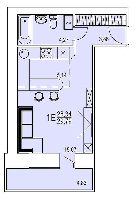 1-х комнатная квартира евро индивидуальной планировки 28,34 м.кв.