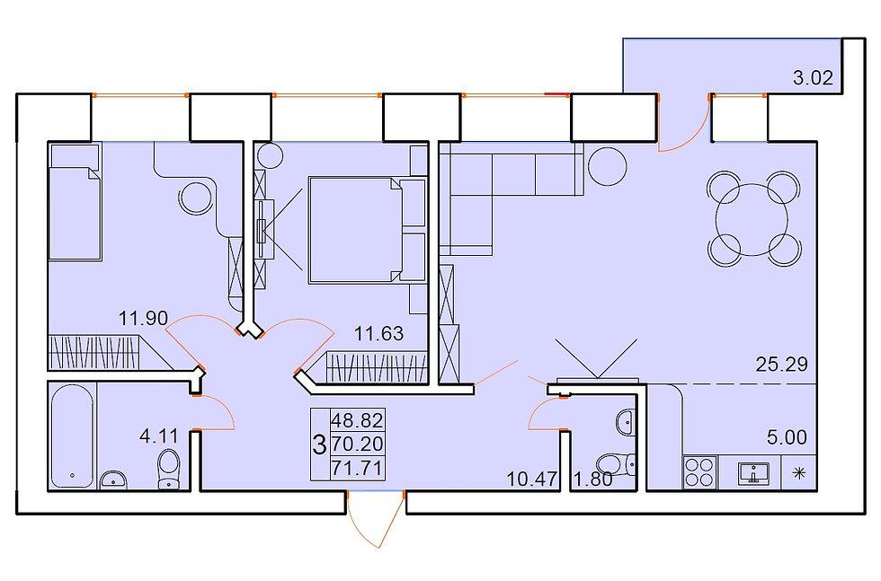 3-х комнатная квартира индивидуальной планировки 70,20 м.кв.