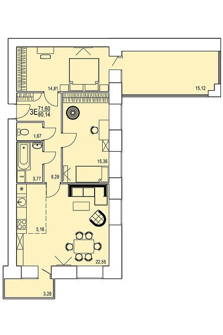 3-х комнатная квартира евро индивидуальной планировки 71,60 м.кв.
