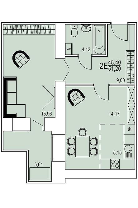 2-х комнатная квартира евро индивидуальной планировки 48,40 м.кв.