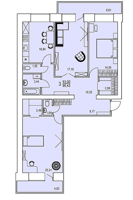 3-х комнатная квартира индивидуальной планировки 93,00 м.кв.