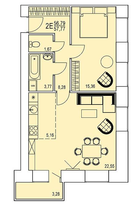 2-х комнатная квартира евро индивидуальной планировки 56,79 м.кв.